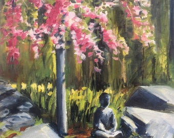 2017 SPRING STUDIO SALE : 8x10 Oil Painting of weeping cherry tree