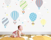 Hot Air Balloon Decal and Jungle Animal Wall Stickers. Neutral Baby Bedroom Decor Coral Blue Yellow and Grey Nursery Up Up and Away