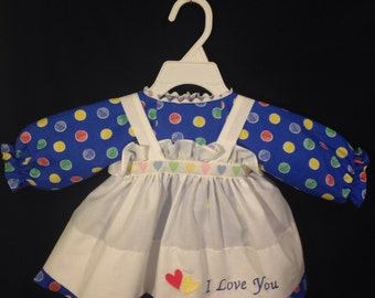 Dress and Apron for 30 inch Raggedy Ann Doll;Blue dress with multicolored polkadots, embroidered apron