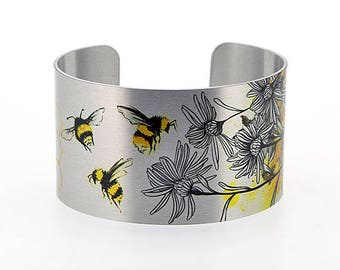 Statement cuff bracelet, Bumble bee jewellery, brushed silver bangle with insect bees, handmade honey bee nature gifts. Secret Message. C533