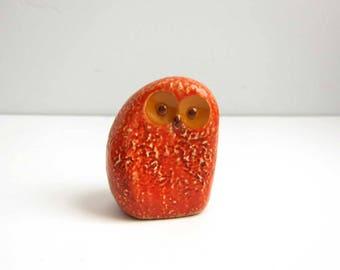 Vintage Mid Century Fitz and Floyd Japan Orange Yellow Eye Owl Paperweight Figurine