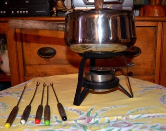 20 % OFF - Vintage Mid Century Retro Fondue Set With Five Forks