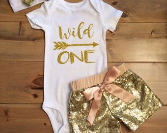 6-12 month wild one birthday outfit with sequin shorts