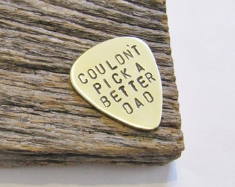 Hand Stamped Guitar Pick Father's Day Gift Daddy Daughter Gift To Dad from Son Birthday Gift Grandpa Custom Metal Plectrum Gift for Stepdad
