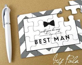 NEW, Improved Puzzles, Be My Best Man, Proposal, Groomsman, Usher, Wedding, Invitation, Gift, Favor, Jigsaw, Organza Pouch, Black, White