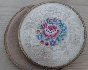 Large vintage embroidered compact with the original pouch