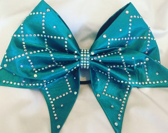 Dark Teal Hand Sewn Cheer Bow with AB crystals in an argyle pattern