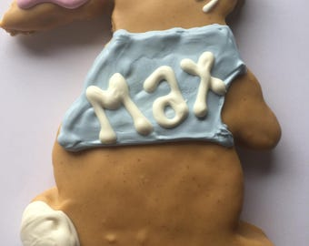 Dog Treats//Homemade Gourmet  Peanut Butter Personalized Easter Bunny Treats for Dogs