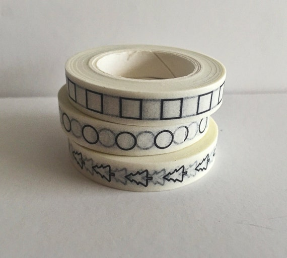 Washi Tape - Checklist Planner Washi Tape - 8mm x 10 metres each - High Quality Masking Tape - Circles, Squares, Christmas Tree