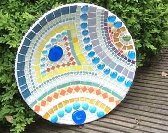 mozaieke wandschaal, decoratieve schaal, fruitschaal, wanddecoratie, Mosaic platter, Mosaic art object