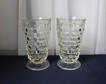 2 Indiana Whitehall Clear Glass Stacked Cube Squares Footed Water Glasses Tumblers Set of 2