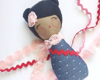Baby Doll, Cloth Doll, Handmade Doll, Modern Rag Doll, Black Hair, Denim, Pink Roses