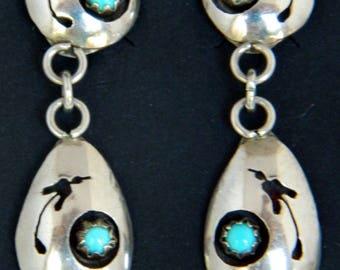 Native American Navajo Turquoise Shadow Box Sterling Silver Peyote Bird Earrings