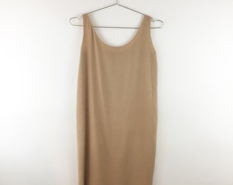 Donna Karan Collection 90s Minimalist Beige Dress