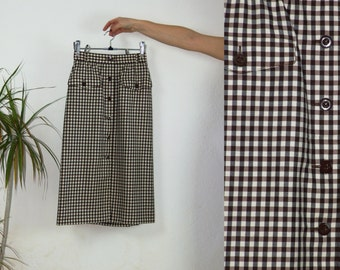 80's vintage women's ESCADA brown checked high waisted wool skirt