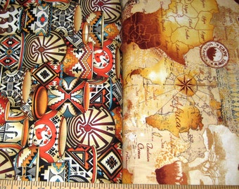 Timeless Tribals Southwest Pottery & Africa Map Cotton Fabric!  [Choose Your Cut Size]