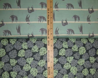 Sloth & Palm Leaf Cotton Fabric by Dear Stella! [Choose Your Cut Size]