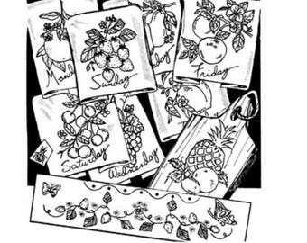 Aunt Marth'a embroidery pattern with fruit and days of the week.