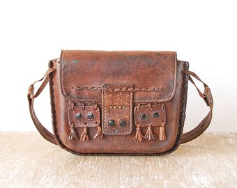 Vintage Leather Purse Handbag, Dark Brown Vintage Bag, Leather Vintage Shoulder Bag, Shoulder Bag