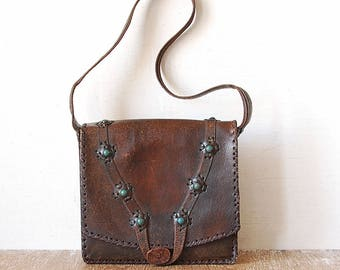 Vintage Tooled Dark Leather Handbag, 70s Brown Leather Purse Bag, Woman Retro Purse, Handmade Shoulder Bag