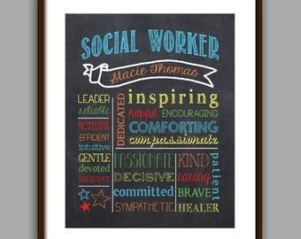 Social Worker Gift Color, Social Worker Chalkboard Printable, Counselor Christmas Gift,  Counselor Thank You, Printable, Digital File 8x10