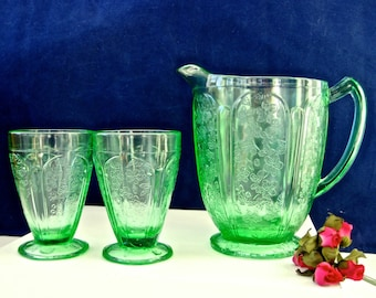3-Piece Set Green Depression Glass Pitcher and Footed Tumblers • Vintage Iced Tea • Floral Doric Paneled Depression Sandwich Glass