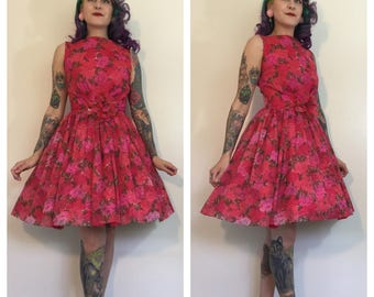Vintage 1950's/1960's Pink Carnation Layered Party Dress