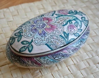 Vintage Hand Painted Porcelain Ring Dish with Lid