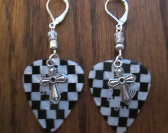 D'Addario Checkerboard Black / White Guitar Pick Earrings with Silver Cross Charms