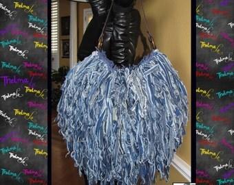 Denim Jean bag,frayed jean bag,Denim Fringe Bag,Jean fringe purse,custom jean handbag,