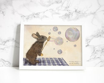 Norman the Rabbit Print // A4 Giclee Print // Nursery Print