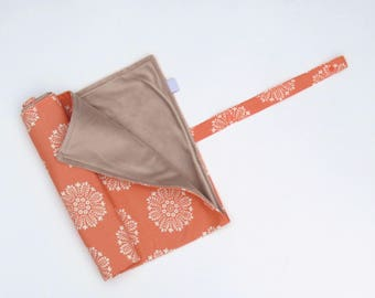 Change Pad Roll-Up Portable Change Mat Melon Pink Flower Baby Change Pad Floral Stroller Blanket
