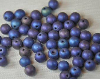 Czech pressed glass round druk beads 6mm matte metallic iris blue 50 beads