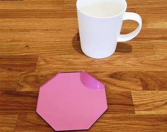 Octagon Shaped Pink MIrror Finish Acrylic Coasters