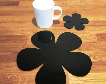 Daisy Shaped Placemats or Placemats & Coasters - in Black Gloss Finish Acrylic 3mm