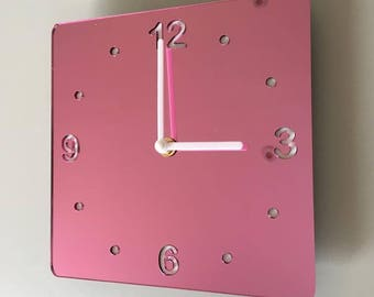 Rounded Corner Square Pink Mirror & White Clock - White Acrylic Back, Pink Mirror Finish Acrylic with White hands, Silent Sweep Movement