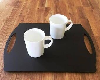 "Rectangle Flat Serving Tray - Mocha Brown Mat Finish Acrylic, 3mm Thick 30cm x 40cm 12""x16"""