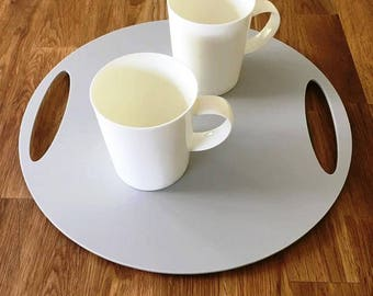 "Round Flat Serving Tray - Light Grey Mat Finish Acrylic, 3mm Thick 32cm, 12.5"" Diameter"
