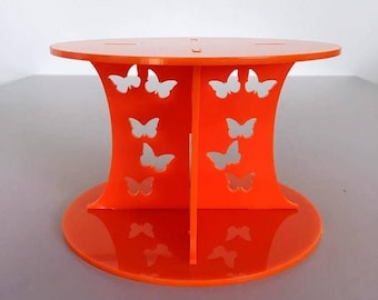 "Butterfly Round Orange Gloss Acrylic Cake Pillars/Cake Separators, for Wedding / Party Cakes 10cm 4"" High, Size 6"" 7"" 8"" 9"" 10"" 11"" 12"""
