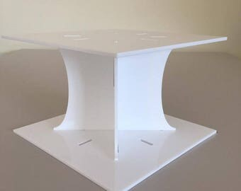 "Plain Square White Gloss Acrylic Cake Pillars/Cake Separators, for Wedding / Party Cakes 10cm 4"" High, Size 6"" 7"" 8"" 9"" 10"" 11"" 12"""