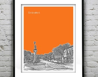Geneseo New York Skyline Poster Art Print New York NY V1