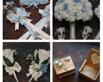 Wedding artificial posy and accessory set