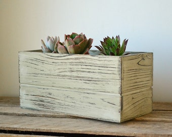 Distressed Rustic Rectangular Wooden Planter Box