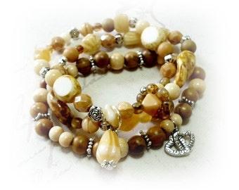 Wrap bracelet, Czech glass beads