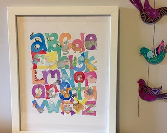 Animal ABC Alphabet Watercolor Print