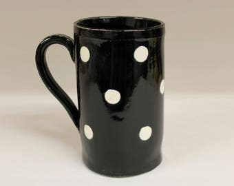 XX Large Black and White Polka Dot Coffee Mug, Handmade Ceramic Pottery Mug
