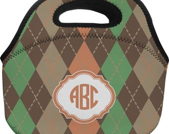 Brown Argyle Lunch Bag (Personalized)