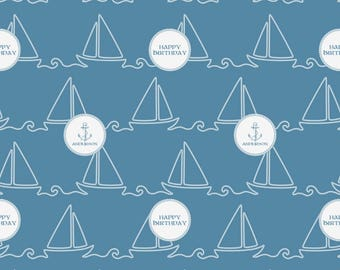 Rope Sail Boats Wrapping Paper (Personalized)