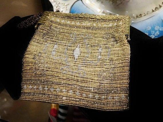 French Steel Cut Micro Bead Beaded Bag Handbag Purse Art Deco 1920s Flapper France Fashion Antique Wedding Bride Bridal Metal Beaded Bag