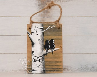 Rustic Valentines Birch Tree Ornament Custom Aspen Tree Art Personalized Wood Ornament 5th Anniversary Gift  Unique Engagement Gift for Him